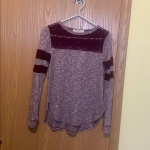 New lace crew neck high low shirt